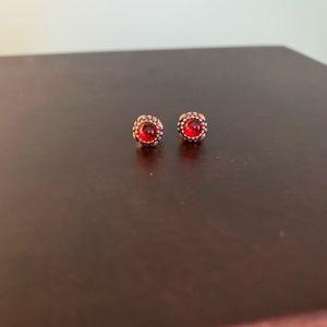 Pandora January garnet earrings